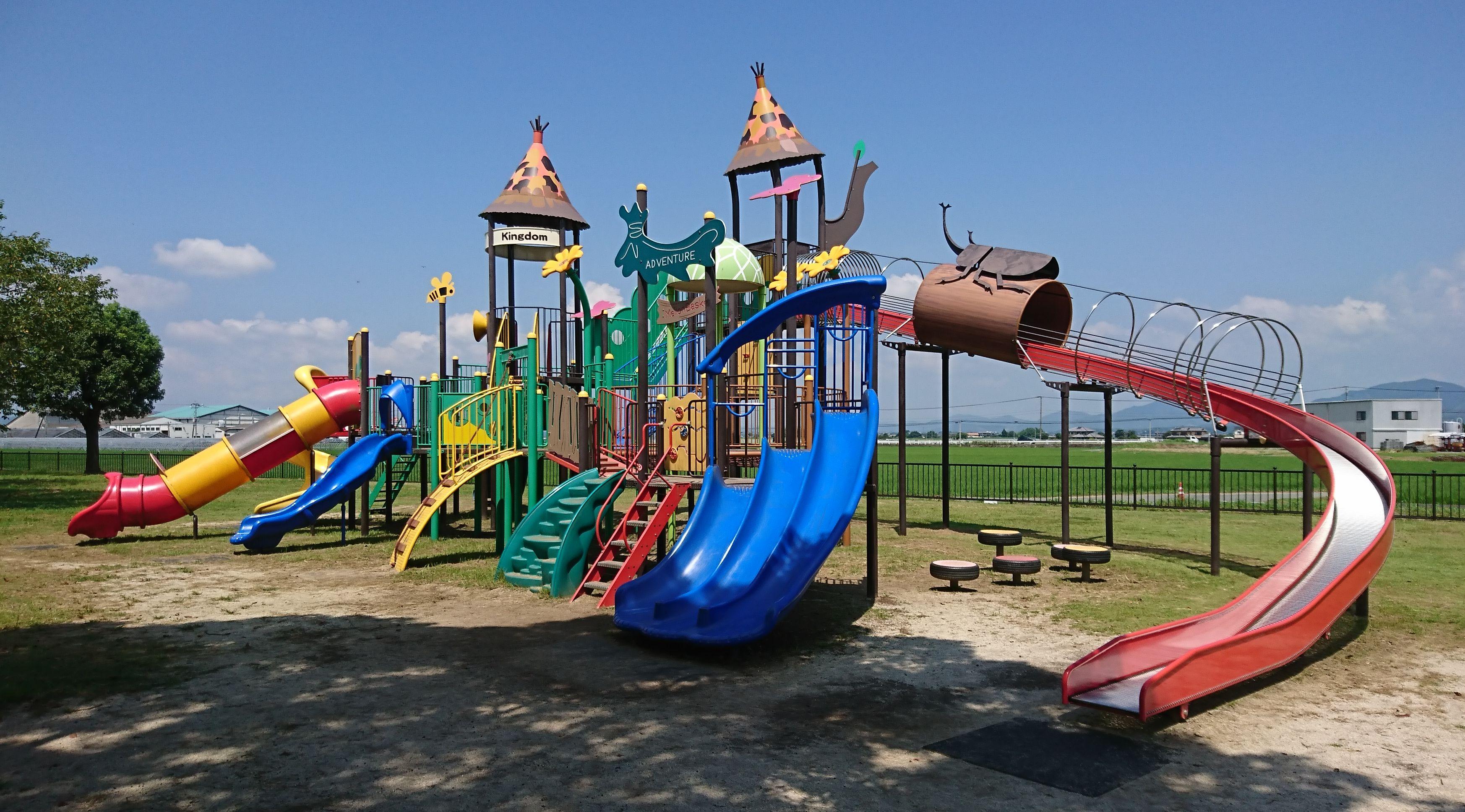 【鴨川河畔公園】菊池@七城町、川遊び&大型遊具の紹介