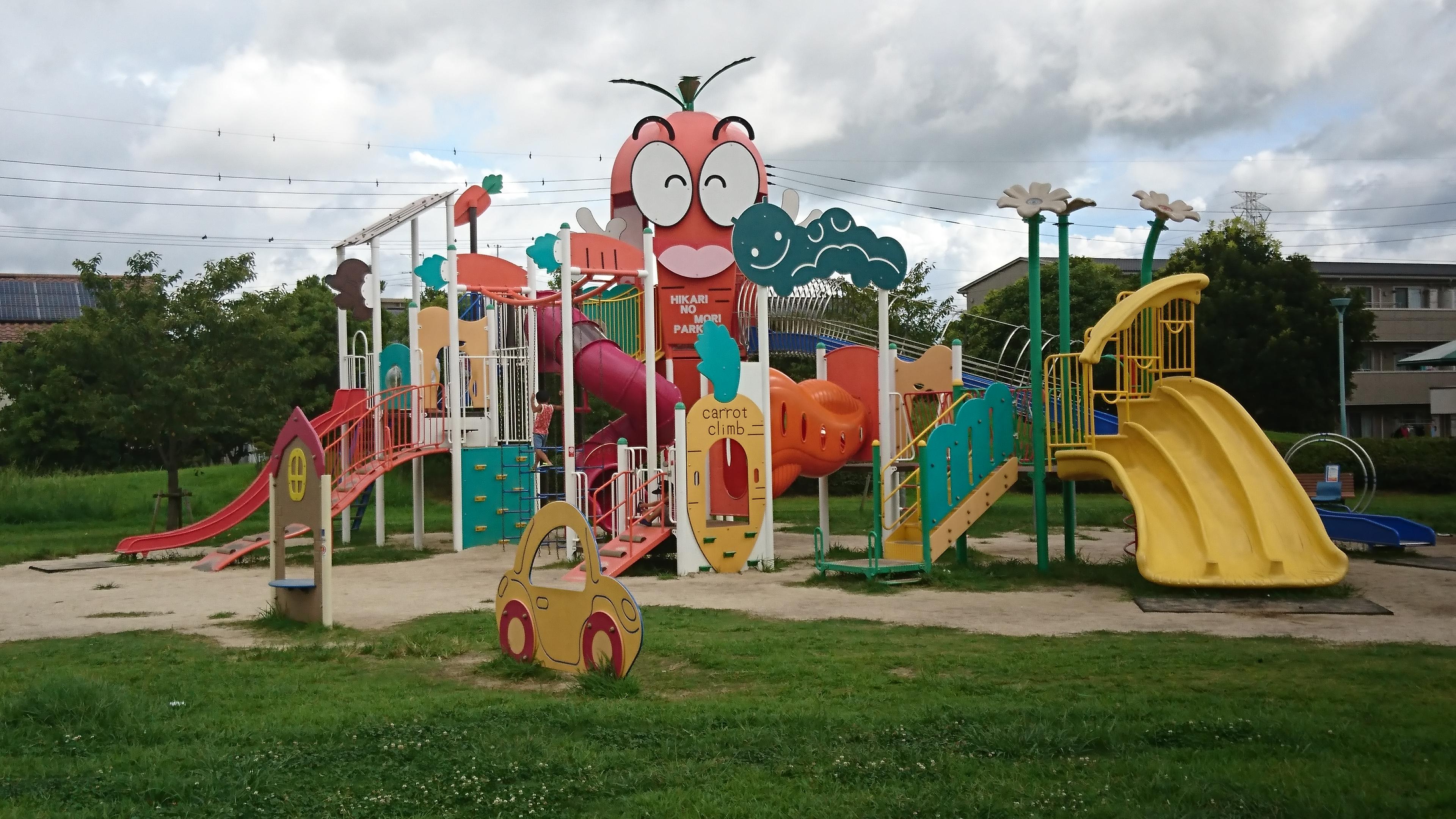 【ひかりのもり公園】菊陽町にあるキャロット公園!複合遊具で遊んできた