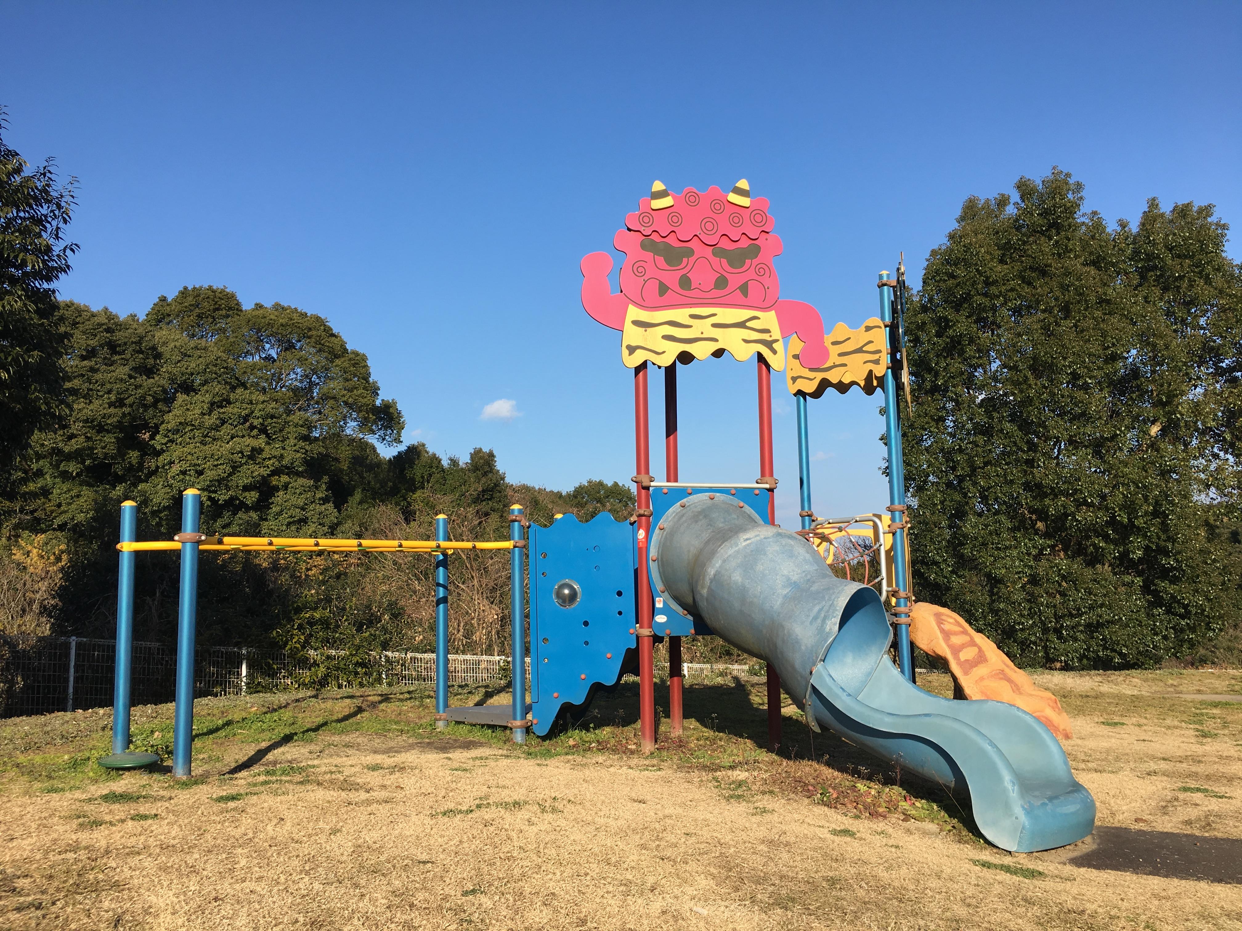 【鬼の城公園】天草五和町、遊具・噴水!沢山の鬼に子どもビビる