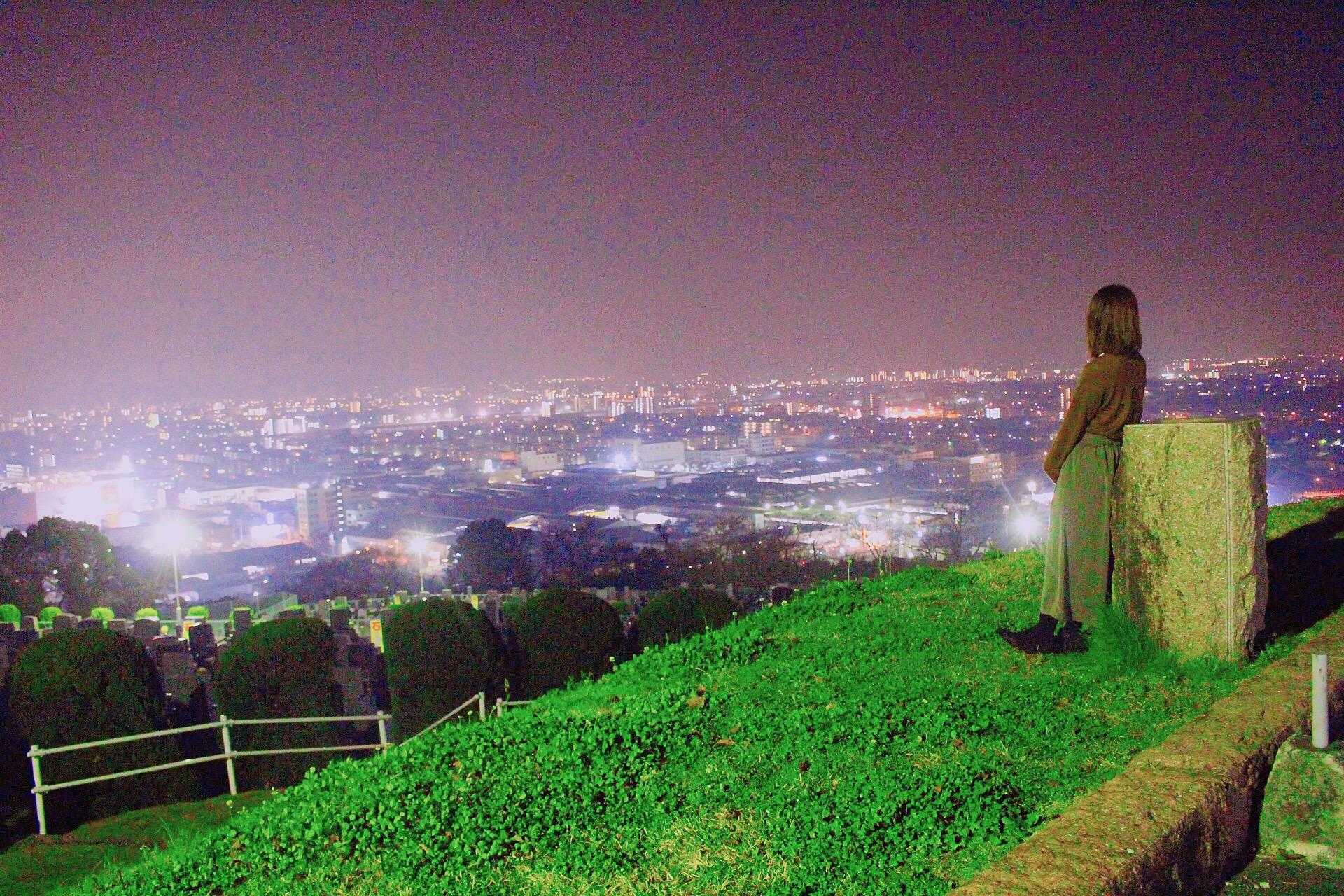 【祈りが丘記念公園】夜景と桜。夜のデートスポット